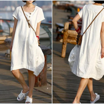 Come for You /Leisure linen two pockets dress by MaLieb on Etsy