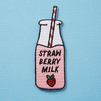 Strawberry Milk Iron On Patch