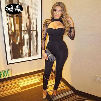 Long Rompers Womens Jumpsuit Mesh Sleeves One Pieces Elegant Full Bodysuit Combinaison Femme Sexy Bodycon Party halter Jumpsuit
