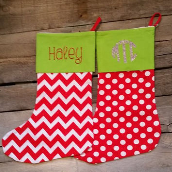 Personalized Chevron or Polka dot CHRISTMAS Stocking with glitter name or monogram