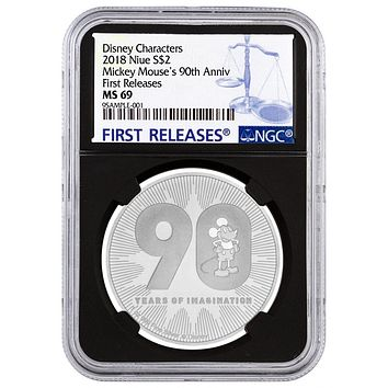 2018 Niue 1 oz Silver $2 Disney Mickey Mouse 90th Anniversary NGC MS-69 (First Releases)