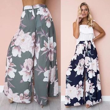 Womens Floral Palazzo Pants High Waist Wide Leg Culottes Ladies Loose Casual Long Trousers