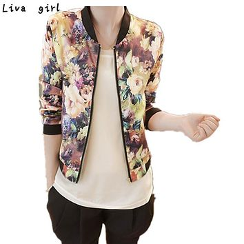 Hot Coat  Women Stand Collar Long Sleeve Zipper Floral Printed Bomber Jacket Cool Chic Print High Quality Fashion Outwear Oct2