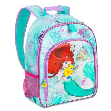 Licensed cool The Little Mermaid Ariel Flounder Girls School 3D Backpack Book Bag Disney Store