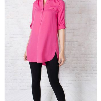 JOTHIRTY Roll-Up Sleeve Tunic Shirt in Pink