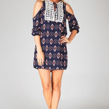 Navy Blue Tribal Crochet Accent Open Shoulder Dress