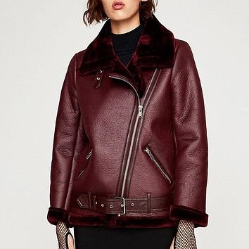 women winter black leather short fur biker streetwear aviator faux suede lapel collar jacket punk shearling camel coat