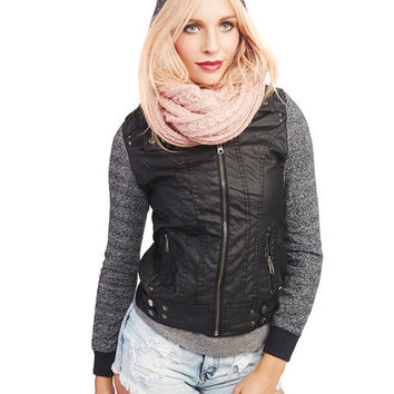 Marled Knit & Faux Leather Jacket | Wet Seal