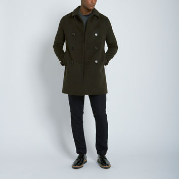 Mackintosh Double Breasted Wool Cashmere Overcoat in Chocolate