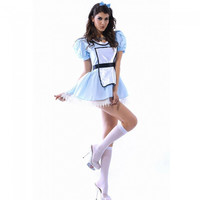 Sexy Large French Maid Outfit Spicy Girl Costume Sky Blue - Default