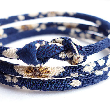 japanese jewelry Kimono Bracelet, Necklace - HANA MORI - Japanese chirimen fabric cord, white Flower cherry blossom in Navy Dark Blue