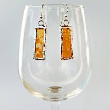 Stained Glass Earrings, Amber Glass Earrings, Fall Earrings, Glass Jewelry, Dangle Drop Earrings, Custom Earrings, Geometric Earrings