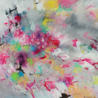 "Large Abstract Expressionist Painting, Flowers on Canvas, Pink, Yellow, Colorful ""Wind, Rain and Cherry Blossoms"""