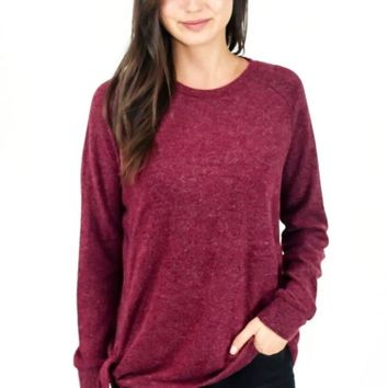 Hacci Side Tie Top - Burgundy