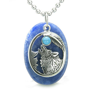 Amulet Courage Howling Wolf Moon Charm Sodalite Simulated Turquoise Eye Pendant 22 Inch Necklace