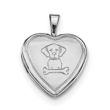 Sterling Silver Rhodium-plated Dog with Bone Heart Locket QLS620