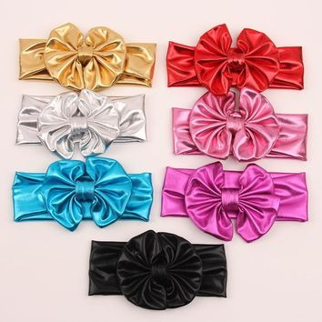 Metallic colors leather children baby girls big elastic hair bows head wraps turban bands bandana headband headbands accessories