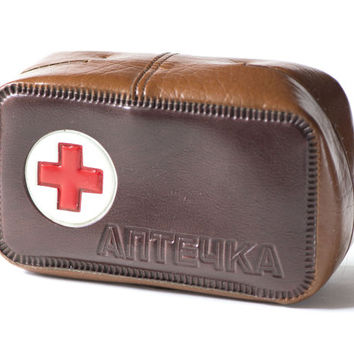 Vintage First Aid kit box, medicine pouch brown First Aid bag, Soviet medicine chest, Pharmacy bag 70s