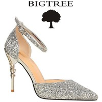 BIGTREE 2017 New Summer Shoes Woman Sequined Cloth Women's Pumps Party Crystal Shoes Silver Carved Metal Heel Wedding Shoes