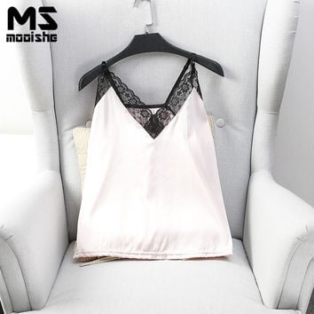 Mooishe Summer Casual Women Cami Deep V Neck Lace Patchwork Silk Halter Strapless Sleeveless Sexy Ladies Camis Femme