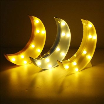 Cute Moon LED Night Light Wall Battery Lamp Baby Kids Bedroom Home Decor