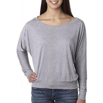 Yoga Clothing for You Womens Off-The-Shoulder Long Sleeve Tee Shirt