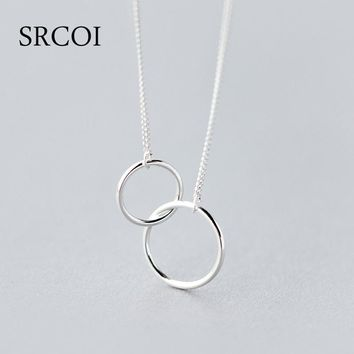 Casual Double Circle Necklace 925 Sterling Silver Necklace Accesorios Mujer Initial Eternity Interlocking Hoop Infinity Pendant