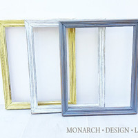 Yellow Grey White Matching Frame Set - Wall Gallery - Upcycled Set Of 3