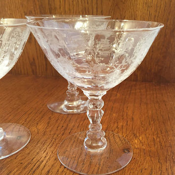 Fostoria Chintz Crystal Champagne Glasses,Vintage Etched Crystal Stemware Set of 3, Chintz Sherbet Glasses