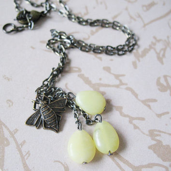 Fly Away Insect Necklace - Jade Bead Necklace