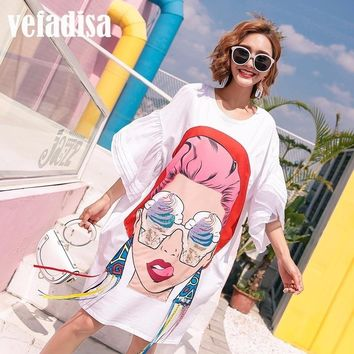Vefadisa 2018 Summer Women Cartoon Sequin Dress Print Asymmetrical Dresses Loose Casual Tassel Irregular T Shirt Dress A097