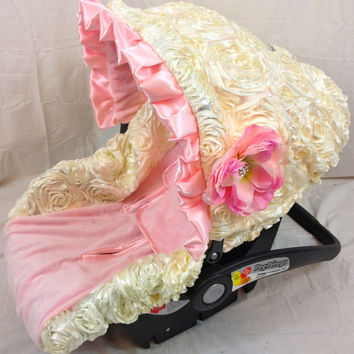 Ivory Pink Infant Car Seat Cover, baby seat cover, infant seat covers, baby seat covers, fancy over the top infant car seat covers, Fancy