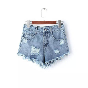 Summer Women's Fashion Rinsed Denim Ripped Holes Denim Mini Pants Jeans [6050446657]
