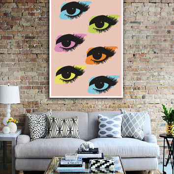 Pop Art Print, Eyes Print, Wall Art, Home Decor, Modern Decor, Glamour Decor, Fashion Illustration, Pop Art Poster, Inspirational Print.