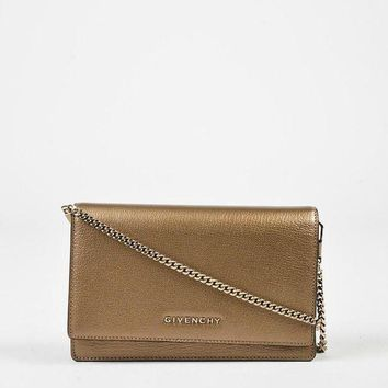 CREY9N Givenchy Gold Metallic Leather 'Pandora Chain Wallet' Shoulder Bag,beautiful purse & m