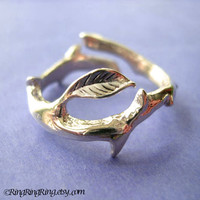 925. Thorn with leaf ring jewelry - Solid sterling silver ring. Size adjustable 092812