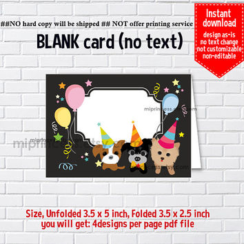 Instant Download, blank Card, #461 Dog, puppy Party,  food tent Card, place card, 3.5x2.5inch printable , non-editable NOT CUSTOMIZABLE