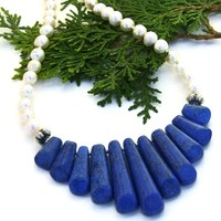 Blue Fan Handmade Necklace, Howlite Pearls Silver Gemstone Beaded Jewelry