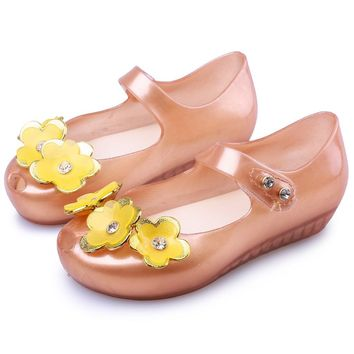 Mini Melissa 2018 New Summer 3 Twins Flowers Beach Shoes Gold Pearl Tramp Sandals Jelly Shoe Fish Mouth Girl Non-slip Kid Sandal