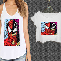 Venom and spiderman Face For Woman Tank Top , Man Tank Top / Crop Shirt, Sexy Shirt,Cropped Shirt,Crop Tshirt Women,Crop Shirt Women S, M, L, XL, 2XL**