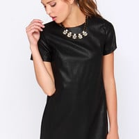 Total Control Black Vegan Leather Dress