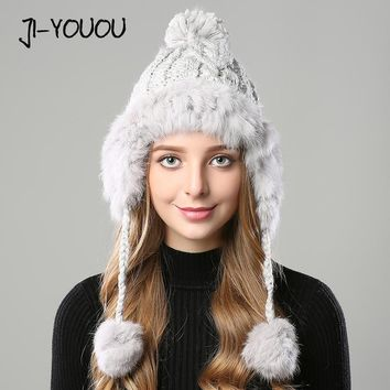 winter hats for women beanie girls 2017 hat fur pompom knitted crocheted with ear flaps Skullies cashmere warm with hat ears