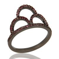 Crown Ring Pink Tourmaline and Oxidized Sterling Silver Designer Ring
