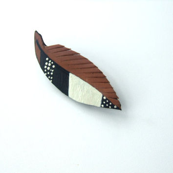 Feather Leather Brooch,  Recycled Leather Pin, Leather Gift, Eco Pin