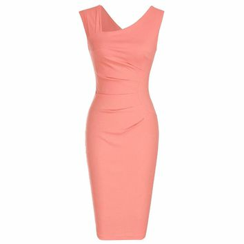 Retro Sleeveless Slim Business, Office, Work Pencil, Party Dress Vintage Solid Color Sheath Cocktail Bodycon Dresses