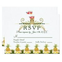 Elegant Pineapple Tropical Summer Wedding RSVP Card