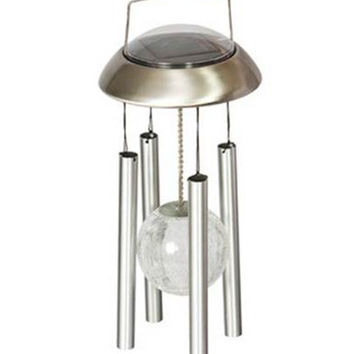 Ball Light Chime Hanging Wind Color Changing Solar Power Stainless Steel