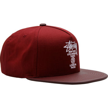 Stussy World Tour Snapback Hat - Burgundy