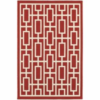 Meridian Red Ivory Geometric  Outdoor Rug