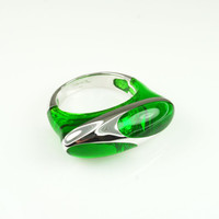Vintage Ring Angelique de Paris Green Liquid Resin Sterling Silver 925 Couture Jewelry